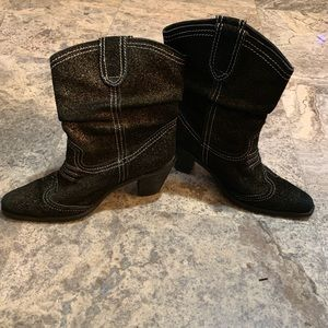 Report Black Glitter Leather Western Boots